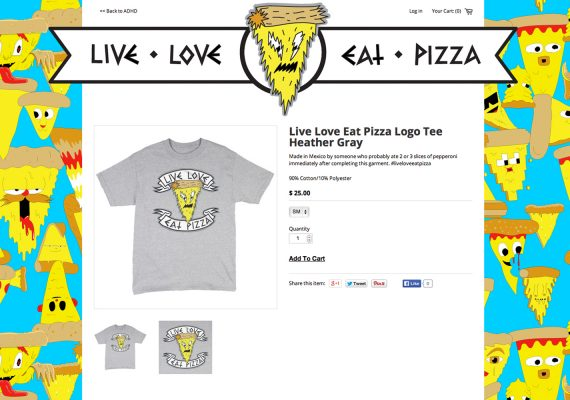 Live Love Eat Pizza Website: Product Detail