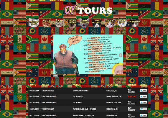 Odd Future Website: Tour Feature